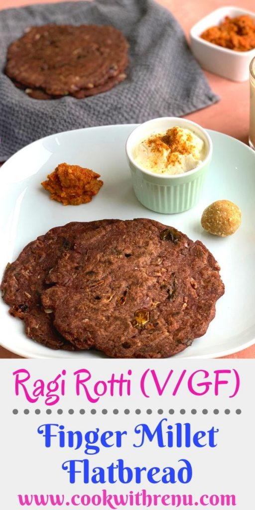Ragi Roti or Finger Millet Flatbread is a Gluten free and Vegan flatbread made using the Ragi flour or Nachni and is generally served for breakfast.