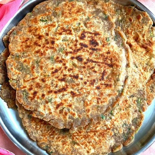 Close up view of Farali Singhara Paratha