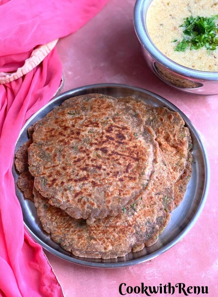 Farali Singhara Paratha served along with Rajgira Kadhi