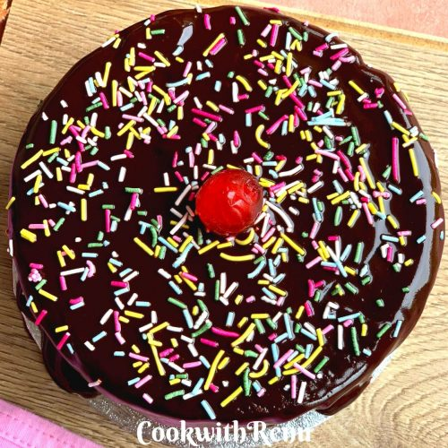 Eggless Chocolate Cooker Cake (Whole Wheat and without Cocoa powder)