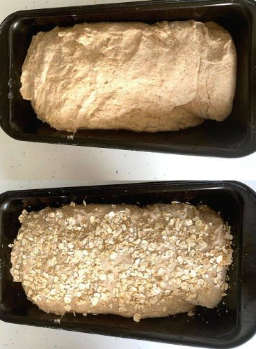 The dough shaped in a loaf ready to be fermented and set in the loaf tin.