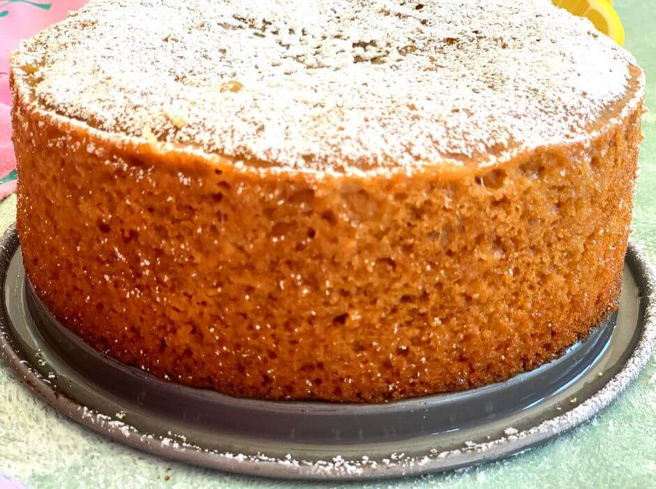 close up look of lemon cake with the outer crumbly and soft texture seen clearly