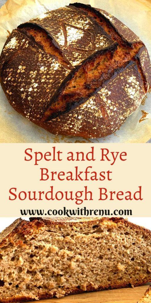 Spelt and Rye Breakfast Sourdough Bread is a delicious sourdough bread made using Spelt , Rye and Whole Wheat flour.