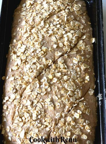 Cut and Scored Loaf Sourdough bread ready to be baked sprinkled with Oats