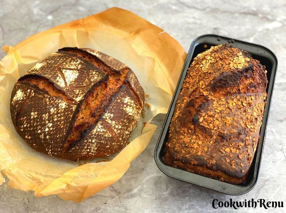 2 Spelt and Rye Breakfast Sourdough Bread being displayed. One in Boule shape and other in loaf tin