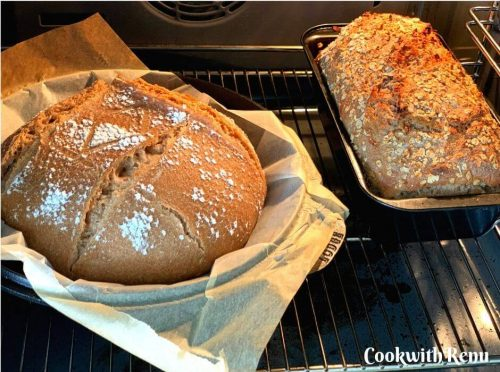 Sourdough bread after the first 20 mins of baking