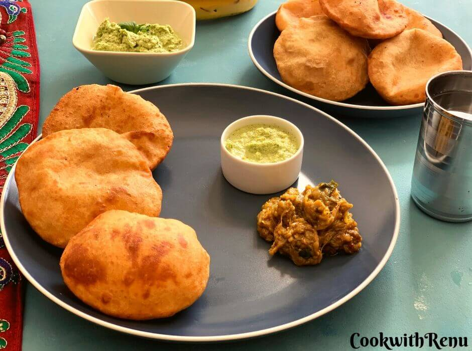 Mangalore Buns served with coconut chutney and no onion no garlic Baingan Bharta