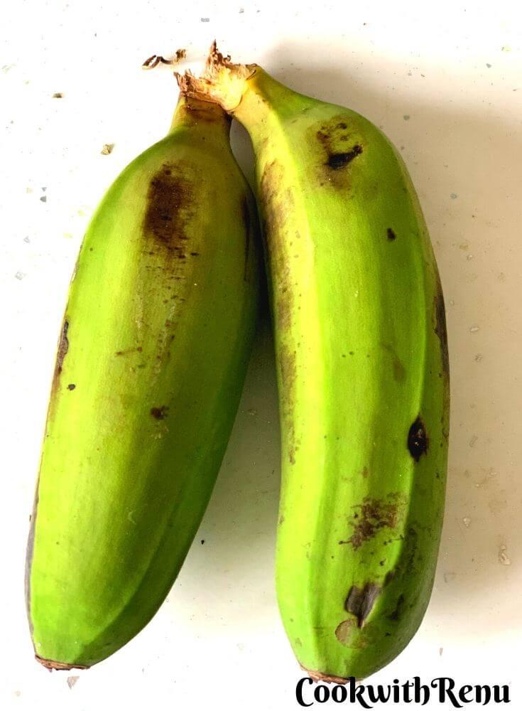 Raw Unripe Firm Bananas
