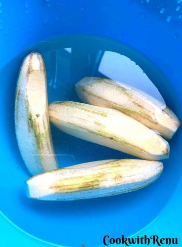 Peeled Banana immersed in water