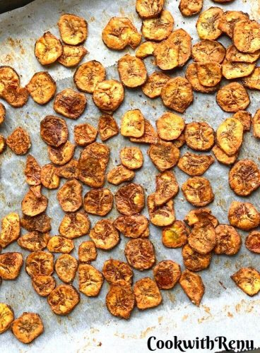 Baked Banana Chips Just out of the oven
