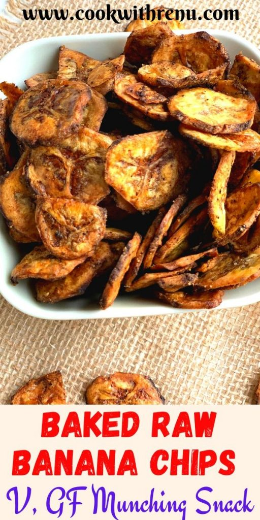 Baked Raw Banana Chips are a delicious and healthy, guilt-free munching snack. They are vegan, gluten-free, and are only made from 3 main ingredients including salt. The 4th optional ingredient is black pepper which is used to flavor the chips.