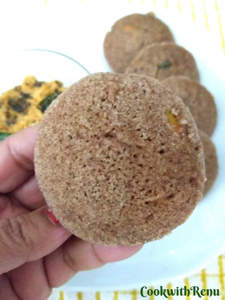 Close up look of Ragi Idli showing the soft and porous texture