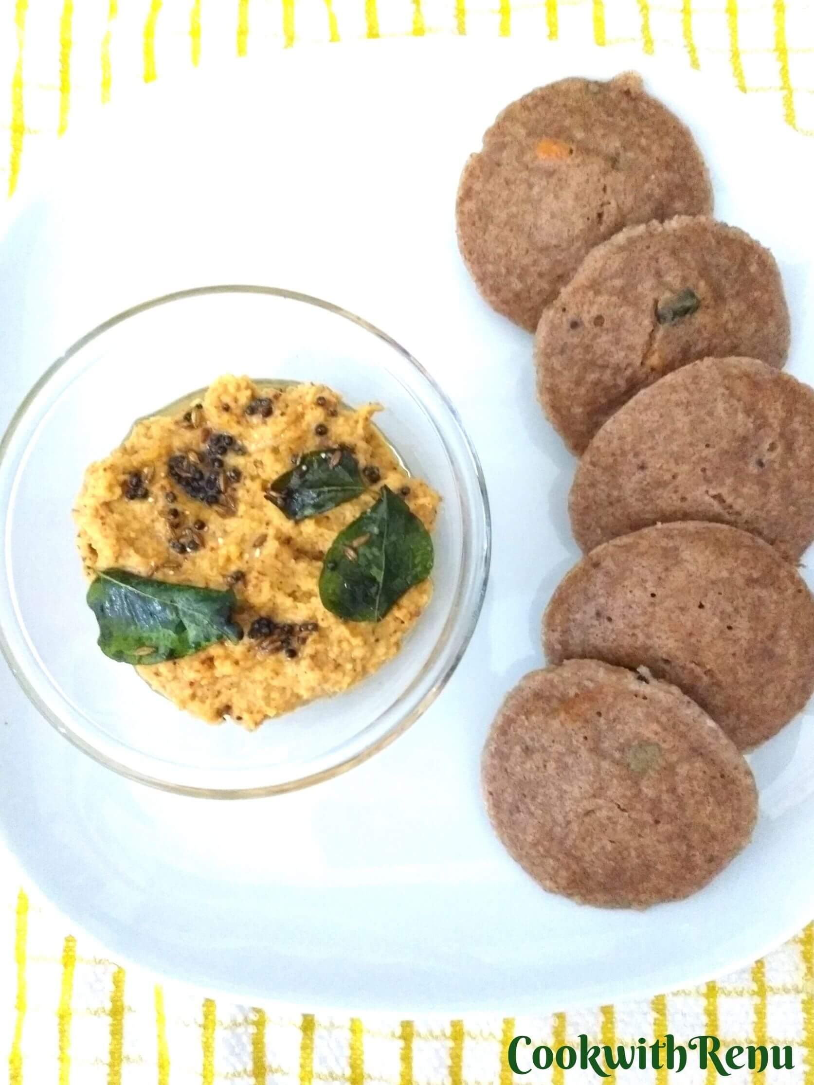 Ragi Idli being served with Chana Dal Chutney
