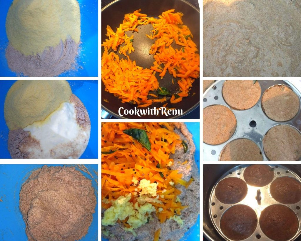 Step by Step pics of making of Ragi Idli