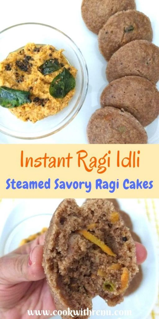Instant Ragi Idli or Steamed Savory Ragi Cakes - Instant Ragi Idli is a Healthy breakfast or lunch, which has the goodness of Ragi and can be done in as quickly as 25 mins.