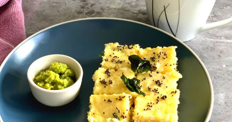 Instant Rava Dhokla (Steamed Vegan Savoury  Semolina Cake)