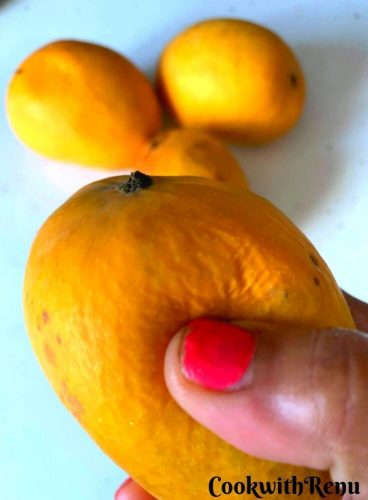 Squeezing of the Mangoes using thumb and fingers