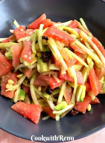 Close up look of Raw Watermelon Rind and Avocado Salad