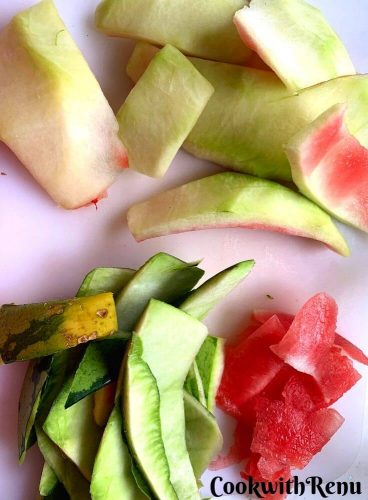Watermelon Rind, the white, green and the red part seperated