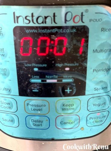 Instant pot set to 1 min pressure cook mode