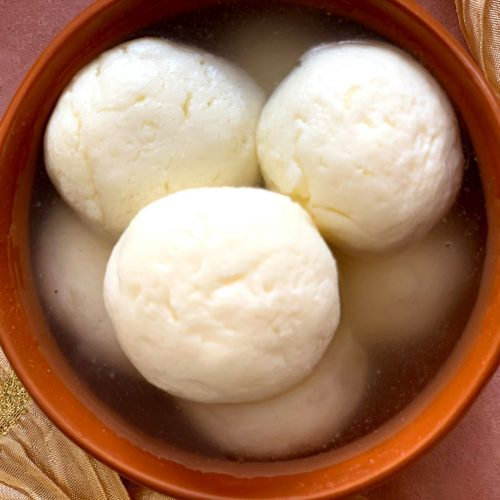 Close up look of Soft and spongy rasgulla, pure white