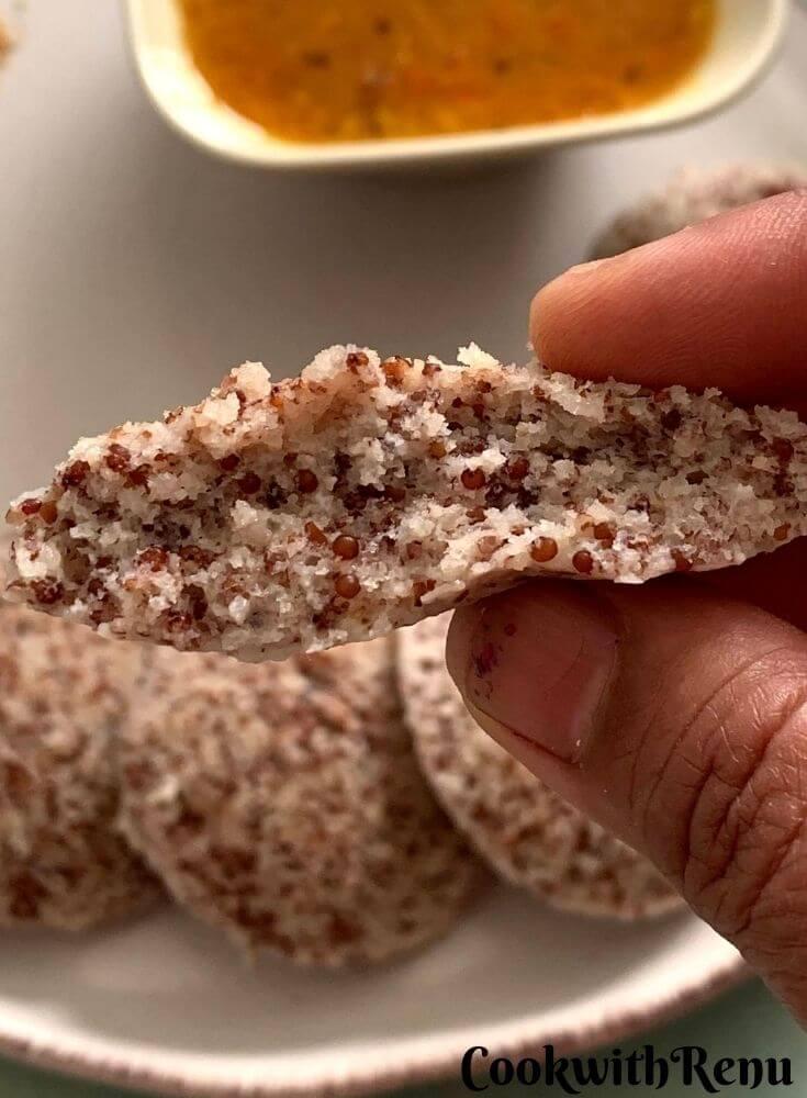 Texture of the Ragi Idli, Light and Soft