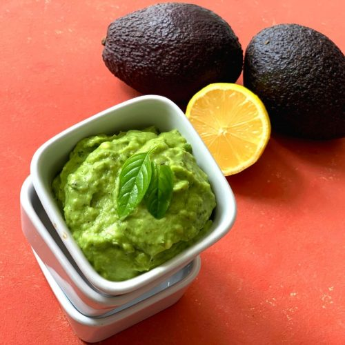 Raw Avocado basil dip is a simple and creamy, vegan, dairy-free, sugar free, nut-free and oil-free dip made using 6 ingredients including salt