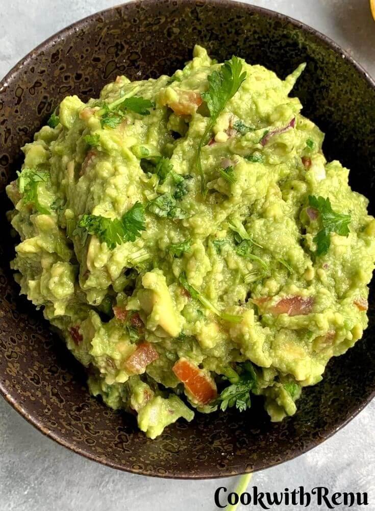 Close up look of Chunky Avocado Guacamole