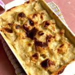 Easy Cauliflower Gratin is a delicious cheesy bake made using low carb cauliflower and the topped perfectly browned using flour, milk, and cheese.