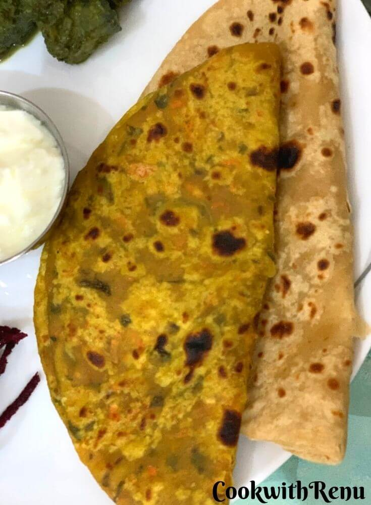 Close up look of Carrot & Plain Paratha