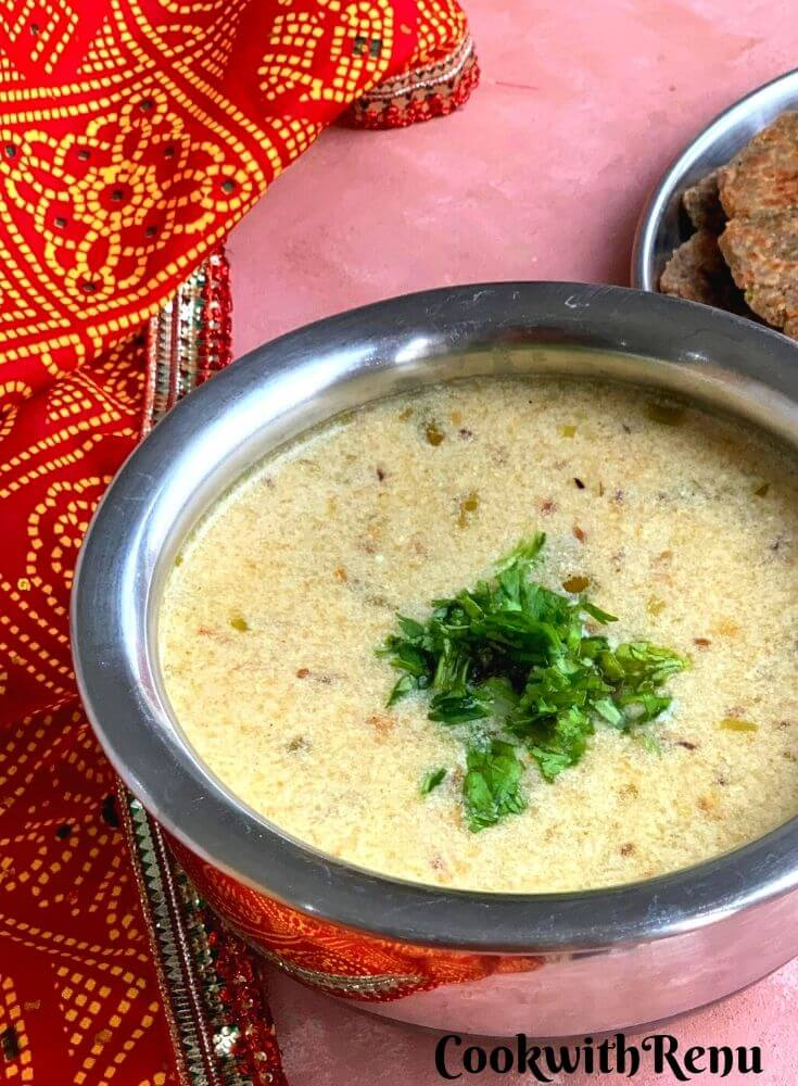 Rajgira or Amaranth flour kadhi is a simple, quick, and delicious kadhi/soup made using Rajgira flour and Yogurt/curd