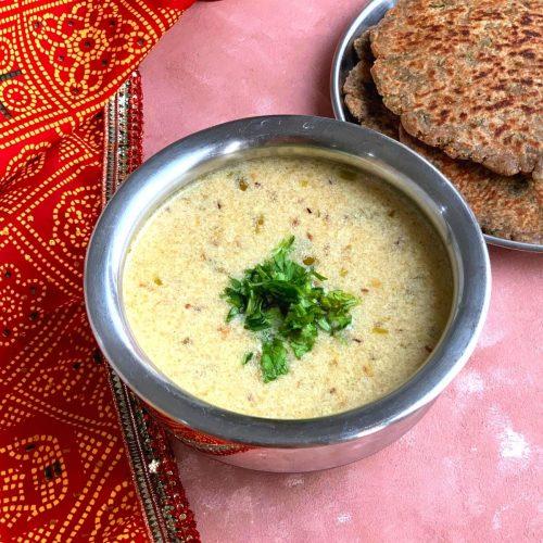 Rajgira or Amaranth flour kadhi is a simple, quick, and delicious kadhi/soup made using Rajgira flour and Yogurt/curd
