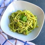 Close up view of Raw Zoodles Salad or Zucchini noodles or Courgette noodles are no cook, low carb, vegan and gluten free vegetarian noodles made using Zucchini and a perfect alternative to pasta. This Zucchini pasta with Avocado Basil Dip is a perfect no cook and keto friendly healthy lunch.