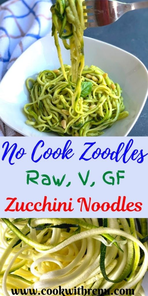 Raw Zoodles Salad or Zucchini noodles or Courgette noodles are no cook, low carb, vegan and gluten free vegetarian noodles made using Zucchini and a perfect alternative to pasta. This Zucchini pasta with Avocado Basil Dip is a perfect no cook and keto friendly healthy lunch.