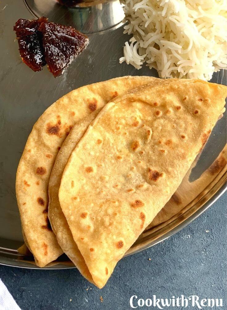 Phulka roti or flatbread in thali