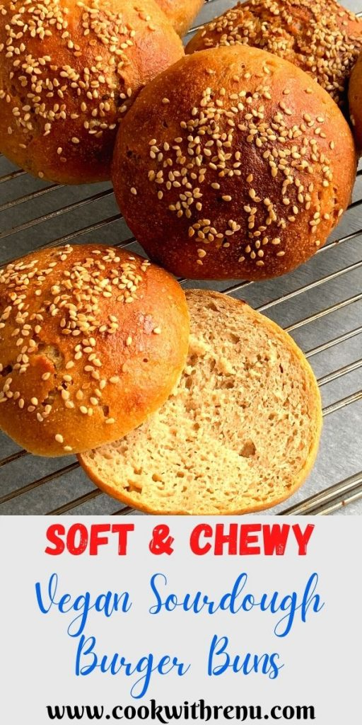 Vegan Sourdough Burger Buns are soft and chewy, eggless burger or sandwich buns made using a mixture of all purpose flour (plain flour) and whole wheat flour. The buns are easy to make and a beginner in sourdough bread making can easily make this at home too.
