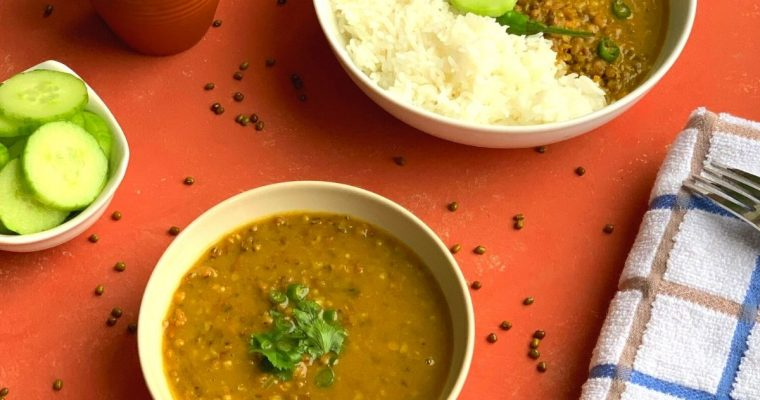 Whole Green Moong Dal (Pressure Cooker and Instant Pot method)