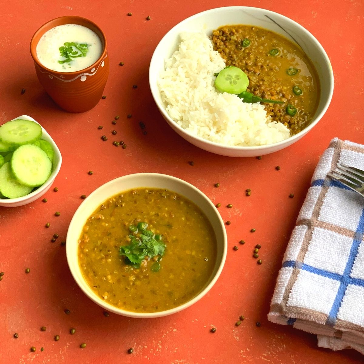 Whole Green Moong Dal or Sabut Moong Dal is a nutritious, healthy and comforting dal made with whole green mung beans, tomato and a few spices.