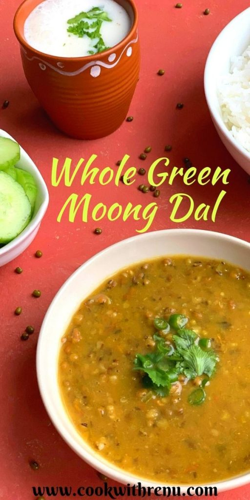 Whole Green Moong Dal or Sabut Moong Dal is a nutritious, healthy and comforting dal made with whole green mung beans, tomato and a few spices. This quick and easy dal can be made in a pressure cooker and Instant pot.