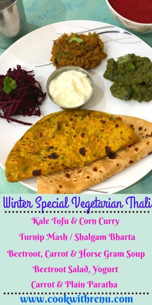 Winter Special Vegetarian Dinner Thali is special thali made using locally sourced organic winter veggies like Turnip, Beetroot, Carrot and Kale.