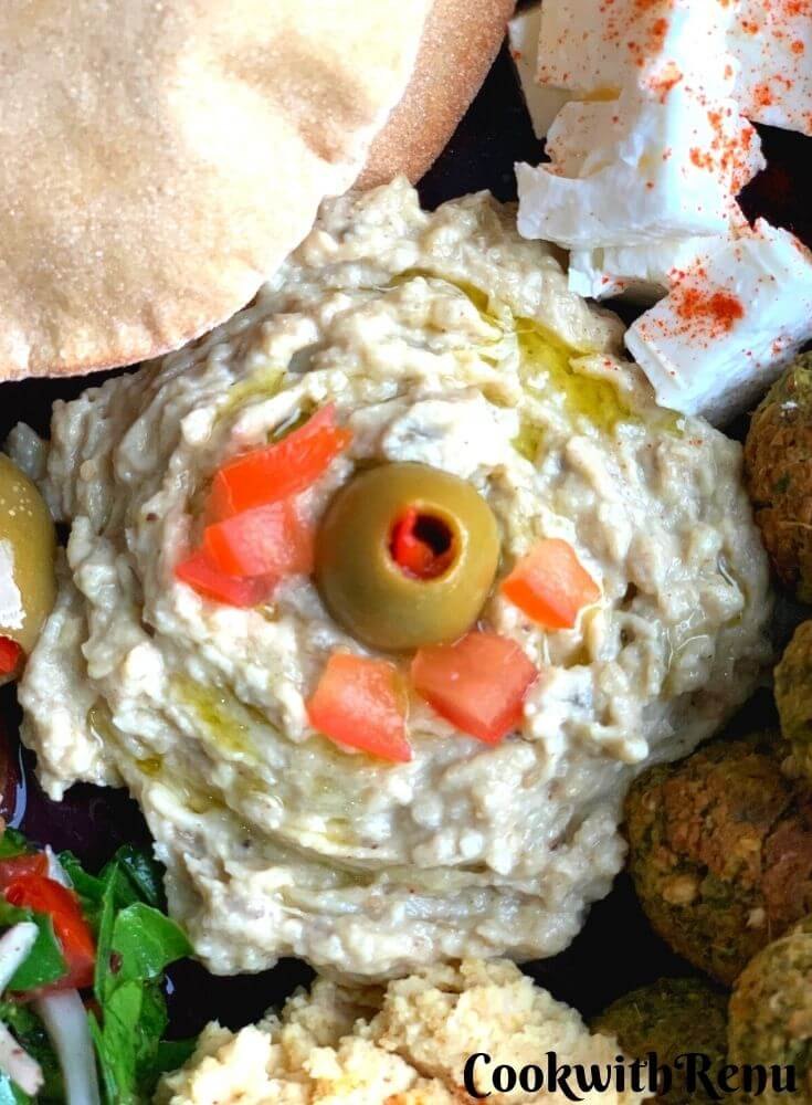 Close up look of Baba Ghanoush