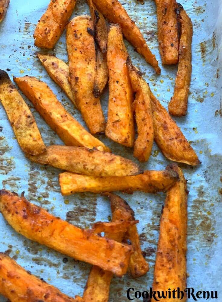 Close up look of Baked Crispy Sweet Potato Chips