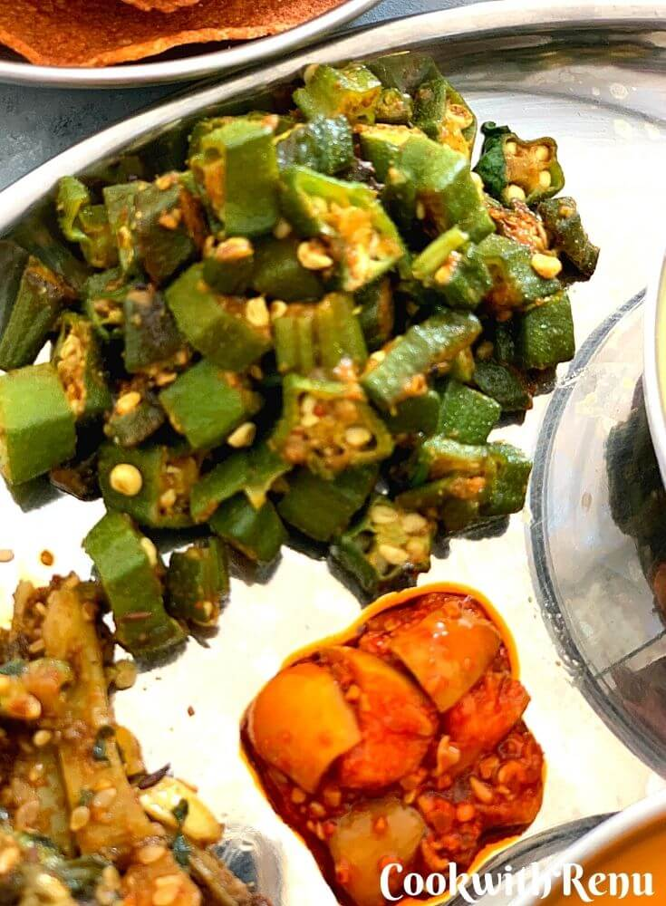 Bhindi Nu Shaak & Instant Mango Pickle