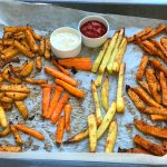 Crispy Baked French Fries of Oven chips are a guilt-free snack or a side which are baked in the oven until crisp with just a teaspoon of oil.