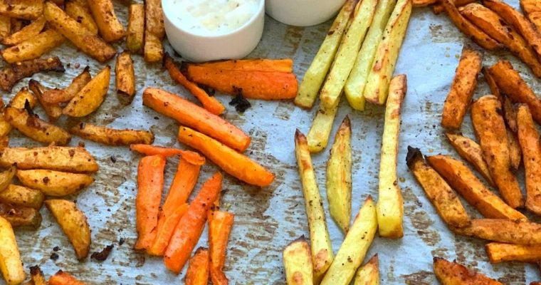 Crispy Baked French Fries | Oven Chips (Turnip, Sweet Potato, Carrot & Potato)