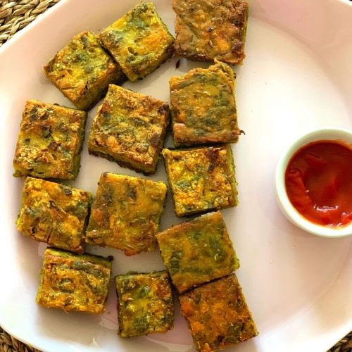 Easy Maharashtrian Kothimbir Vadi is one of the quick, and nutritious vegan snacks made using coriander, gram flour, and a few spices.