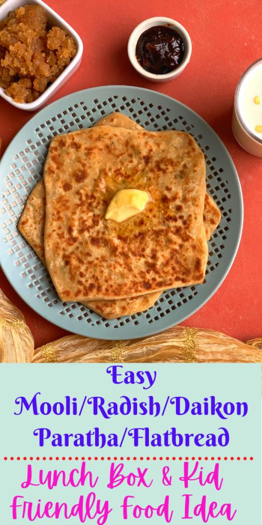 Easy Mooli Paratha is a healthy & delicious unleavened flatbread made using whole wheat flour and stuffed with Mooli, i..e Radish or Daikon.