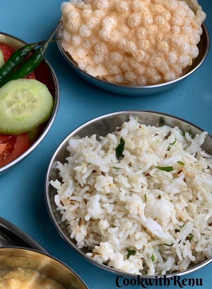 Jeera Rice & Homemade Sabudana Papad