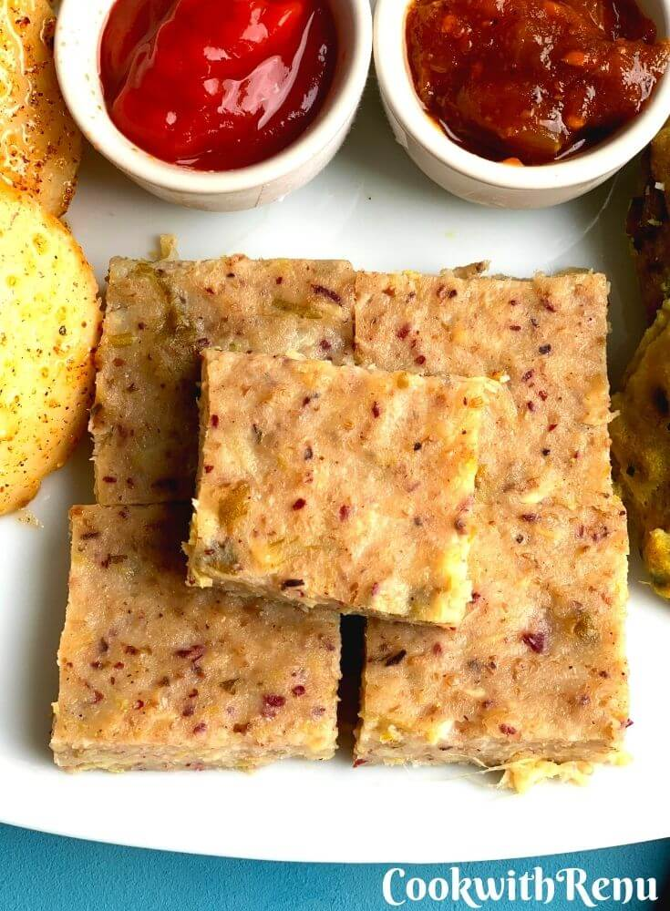 Close up look of Mix Lentils and Beans Veggie Dhokla