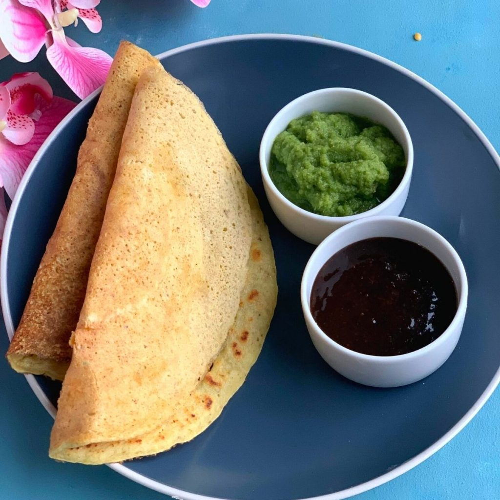 Moong Dal Chilla is a nutritious, healthy and flourless savory crepes from North of India generally enjoyed as breakfast or snacks.
